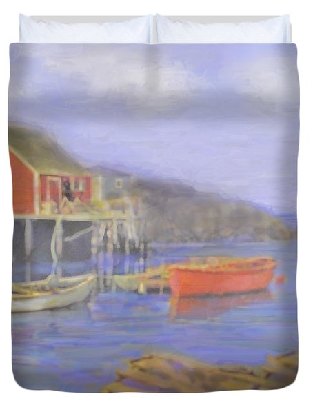 Peggy's Cove Lobster Pots Duvet Cover by Ian  MacDonald