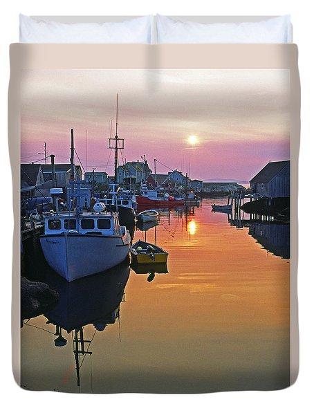 Peggy's Cove Sunset, Nova Scotia, Canada Duvet Cover