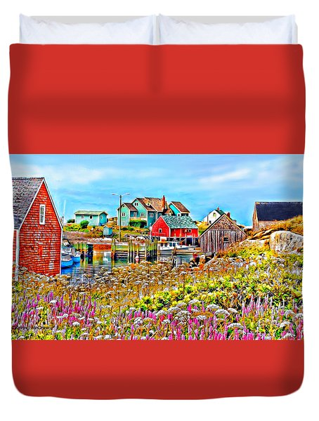 Peggy's Cove Wildflower Harbour Duvet Cover by Kevin J McGraw