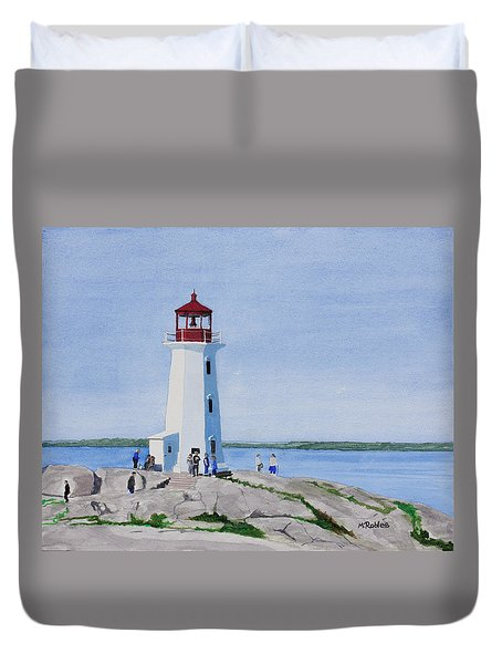 Peggy's Point Lighthouse Duvet Cover by Mike Robles