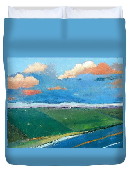 Duvet Cover featuring the painting Peggy's Road by Gary Coleman