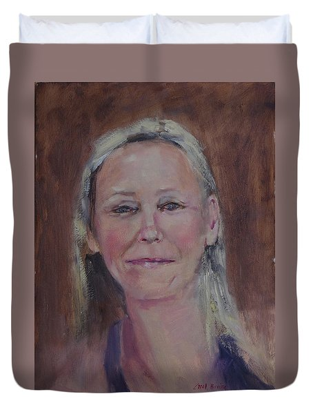 Duvet Cover featuring the painting Peggie by Carol Berning