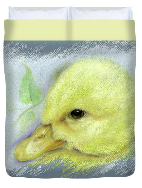 Duvet Cover featuring the pastel Pekin Duckling Portrait by MM Anderson