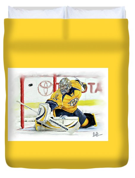 Duvet Cover featuring the photograph Pekka Rinne by Don Olea