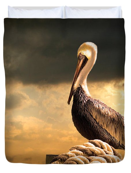 Pelican After A Storm Duvet Cover by Mal Bray