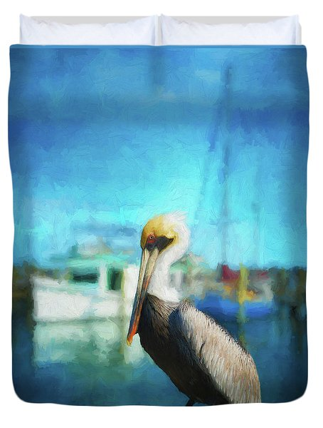 Pelican And Boats Duvet Cover
