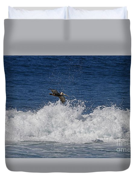 Pelican And Waves Duvet Cover