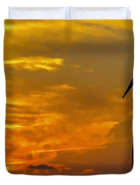 Pelican At Silver Lake Sunset Ocracoke Island Duvet Cover