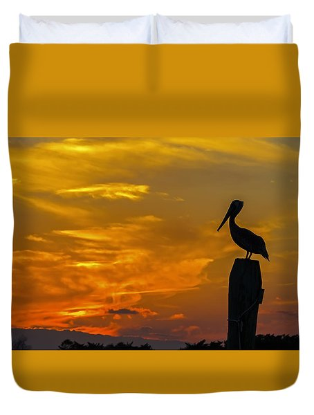 Pelican At Silver Lake Sunset Ocracoke Island Duvet Cover