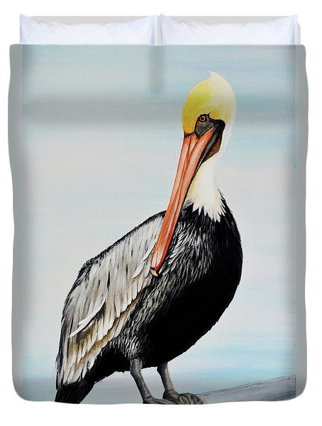 Pelican At The Marina  Duvet Cover