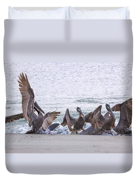 Duvet Cover featuring the photograph Pelican Brunch by Patricia Schaefer