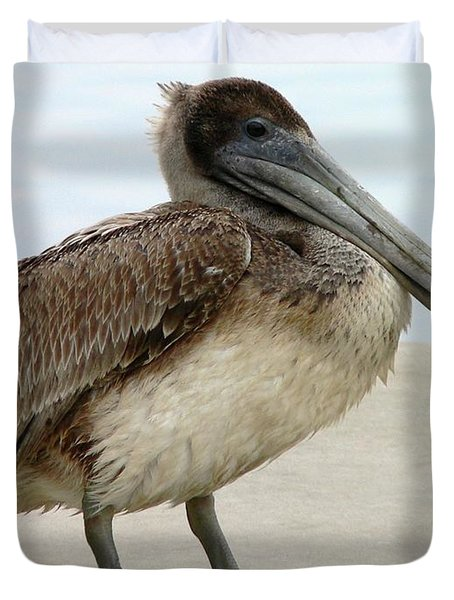 Pelican Close-up Duvet Cover by Al Powell Photography USA