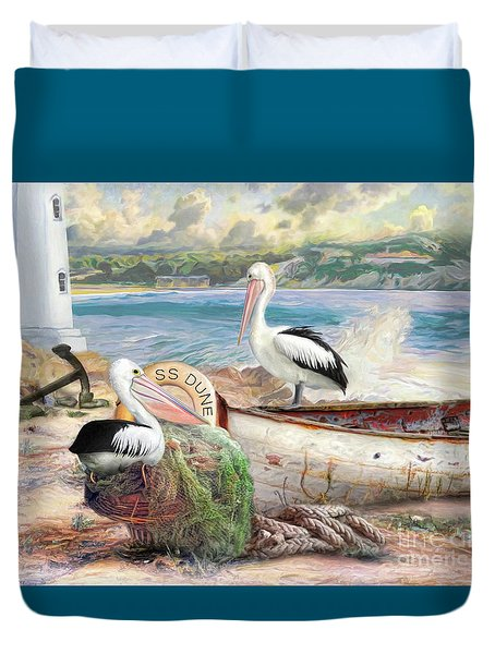 Duvet Cover featuring the digital art  Pelican Cove by Trudi Simmonds