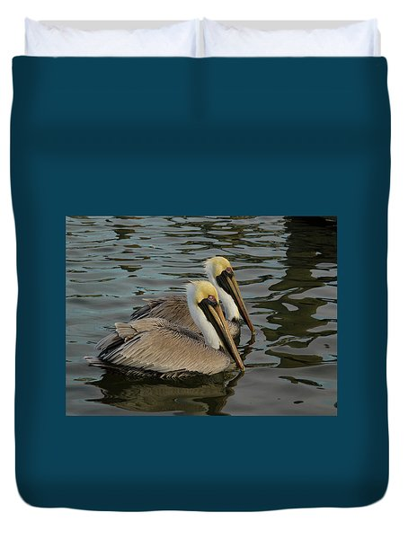 Duvet Cover featuring the photograph Pelican Duo by Jean Noren