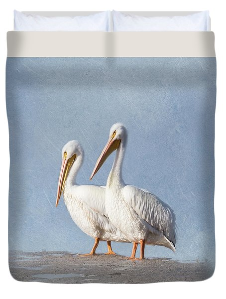 Duvet Cover featuring the photograph Pelican Duo by Kim Hojnacki