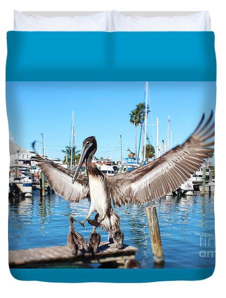 Pelican Flying In Duvet Cover