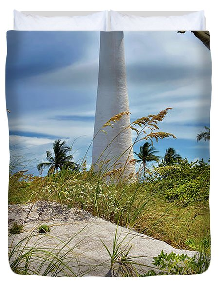 Pelican Flying Over Cape Florida Lighthouse Duvet Cover