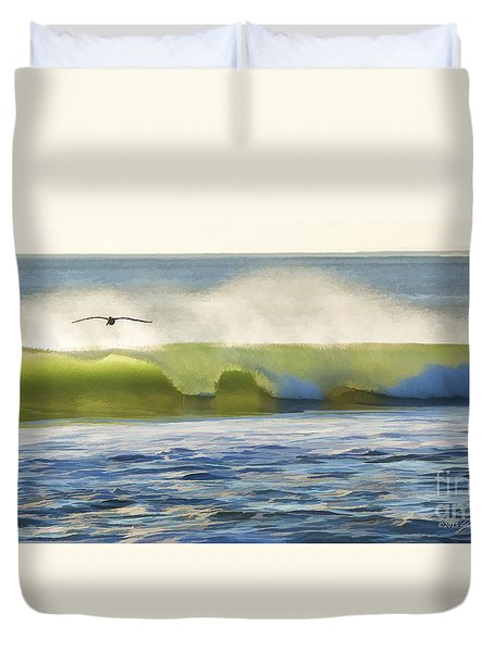 Pelican Flying Over Wind Wave Duvet Cover