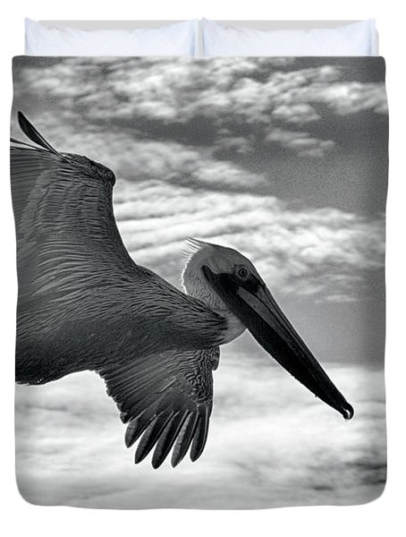 Pelican In Flight Duvet Cover