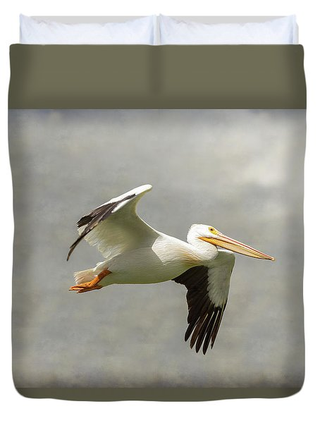 Duvet Cover featuring the photograph Pelican In Flight by James BO Insogna