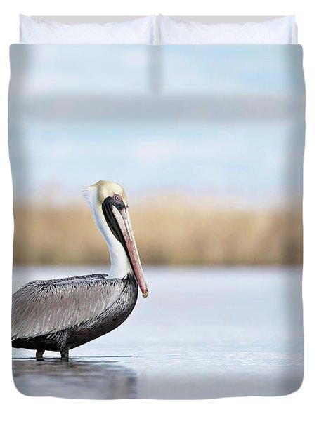 Pelican In Paradise Duvet Cover