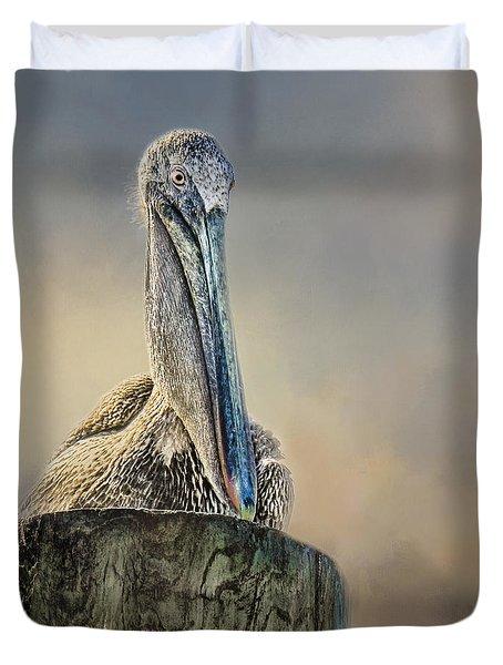 Pelican In Paradise Squared Duvet Cover