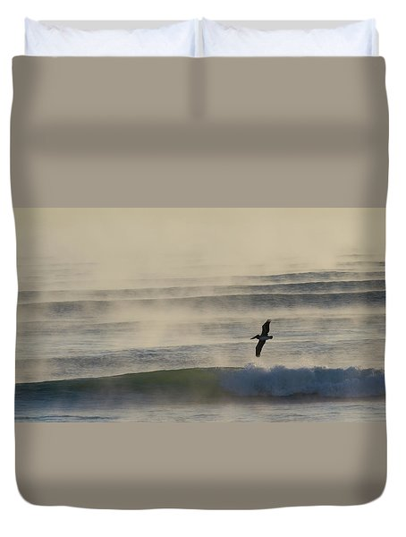 Pelican In Sea Smoke Duvet Cover