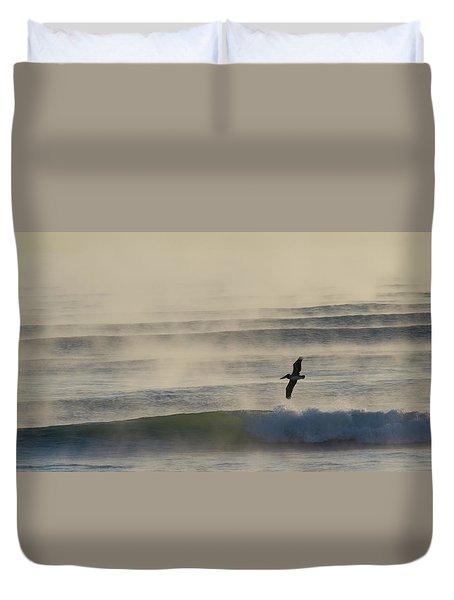 Pelican In Sea Smoke Duvet Cover