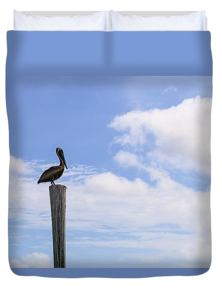 Pelican In The Clouds Duvet Cover