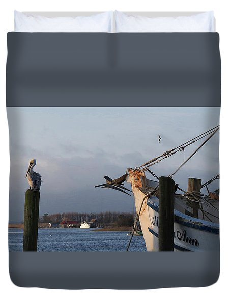 Duvet Cover featuring the photograph Pelican Morning Harbor by Deborah Smith
