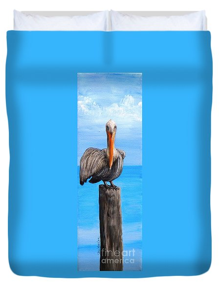Pelican On Pier Duvet Cover