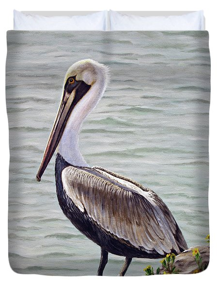 Pelican On The Waterway Duvet Cover