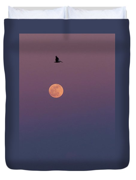 Pelican Over The Moon Duvet Cover