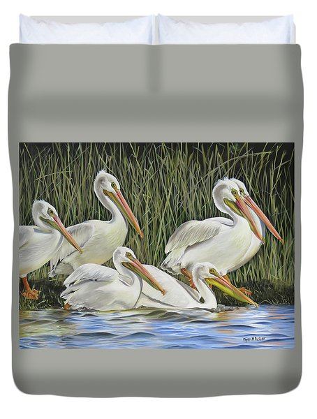 Pelican Parade Duvet Cover by Phyllis Beiser