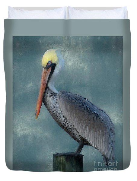 Duvet Cover featuring the photograph Pelican Portrait by Benanne Stiens