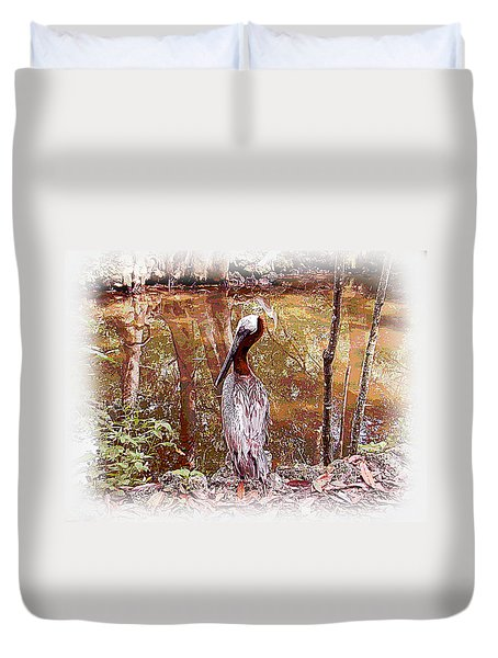 Duvet Cover featuring the photograph Pelican Posed by Martha Ayotte