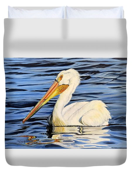 Pelican Posing Duvet Cover by Marilyn McNish