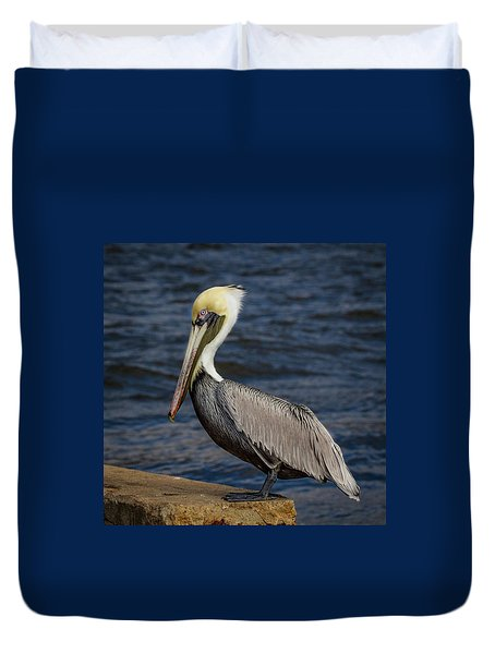 Duvet Cover featuring the photograph Pelican Profile 2 by Jean Noren