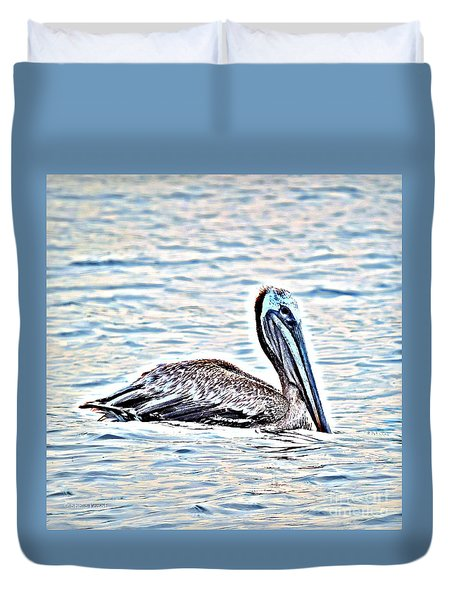 Duvet Cover featuring the painting Pelican by Shelia Kempf