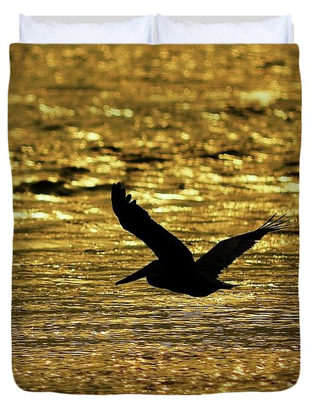 Pelican Silhouette - Golden Gulf Duvet Cover by Al Powell Photography USA