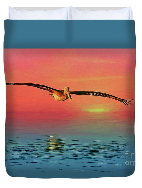 Pelican Sunset Duvet Cover