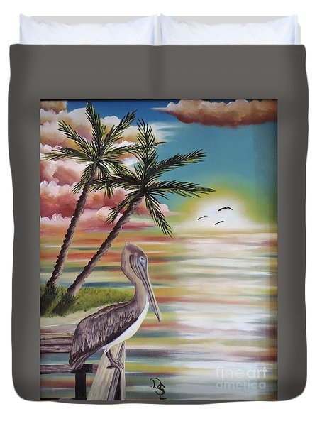 Duvet Cover featuring the painting Pelican Sunset by Dianna Lewis