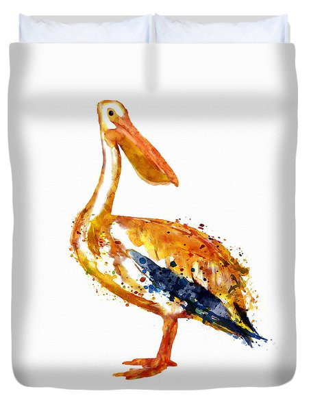 Pelican Watercolor Painting Duvet Cover by Marian Voicu