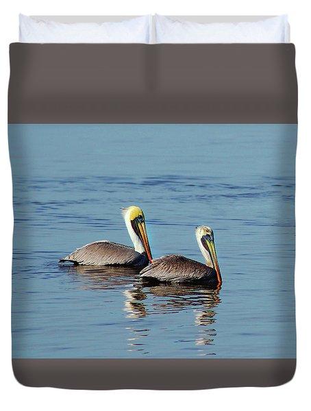 Pelicans 2 Together Duvet Cover