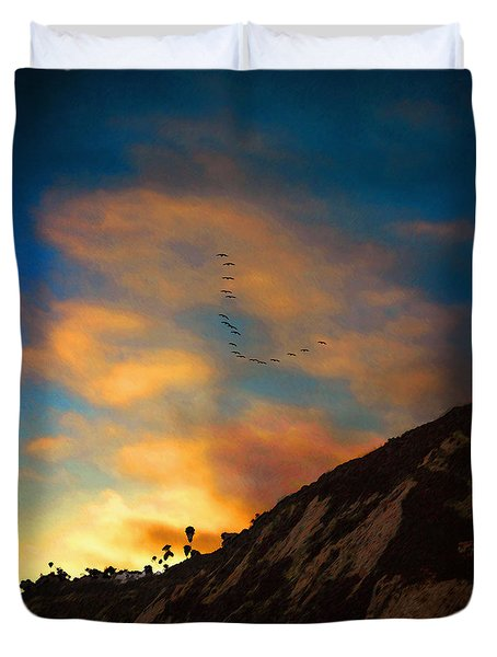 Pelicans At Arroyo Burro Duvet Cover