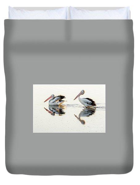 Pelicans At Dusk Duvet Cover by Werner Padarin