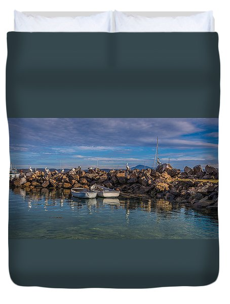 Pelicans At Eden Wharf Duvet Cover