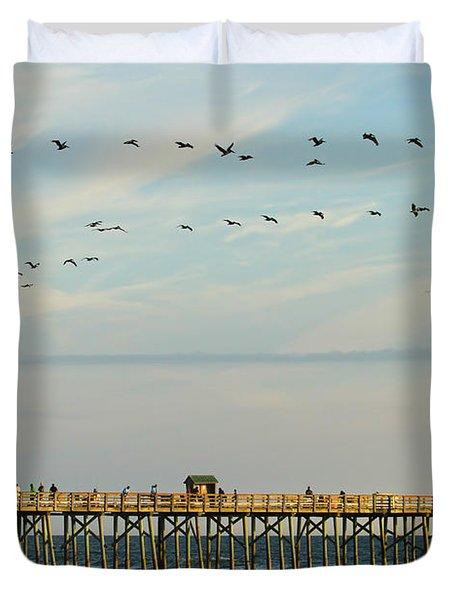 Pelicans At Flagler Beach Duvet Cover