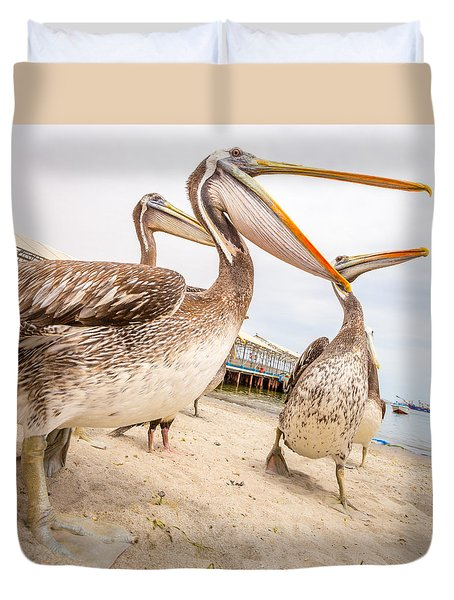 Duvet Cover featuring the photograph Pelicans by Gary Gillette
