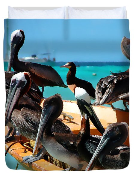 Pelicans On A Boat Duvet Cover by Bibi Romer